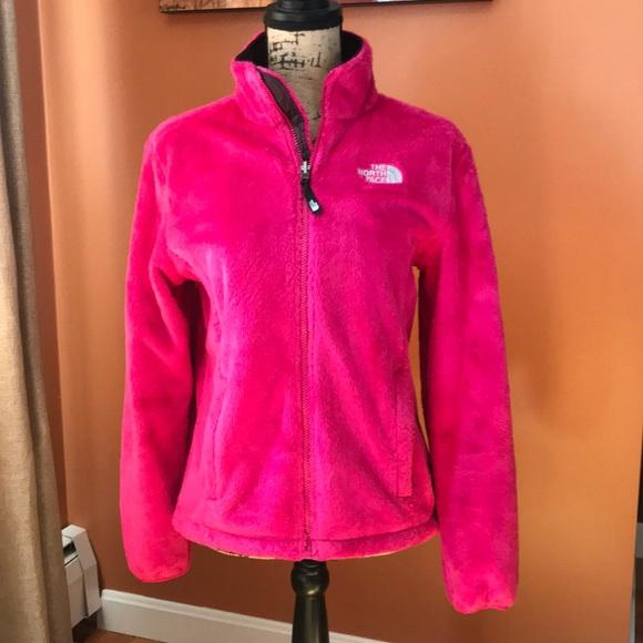 Hot pink north face osito fleece zip jacket